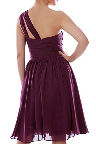 MACloth Bridesmaid Gown Short Party Shoulder Chiffon Dunkelgrun Dress One Women Cocktail rXw6zqxrR