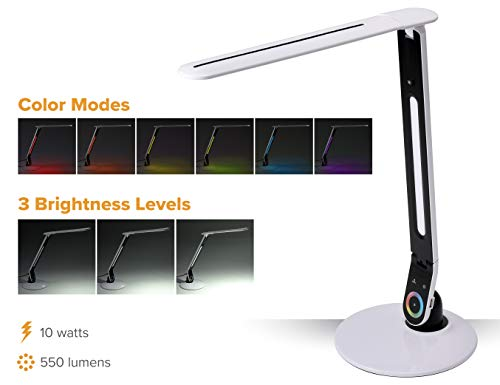 PureOptics LED Color Changing LED Desk Lamp with USB Port, Dimmable RGB (VLED1605)