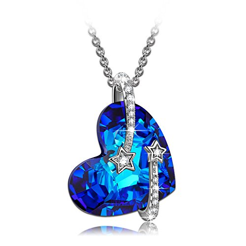 Lady Colour Mothers Day Necklace Gifts Swarovski Crystals Heart Necklaces for Women Girlfriend Anniversary Birthday Gifts for Wife Girlfriend Teen Girls her Women jewlery for Women -