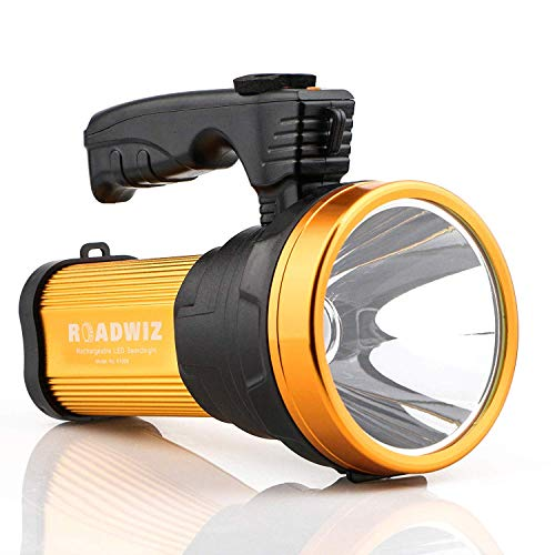 Super Bright LED Searchlight Rechargeable Handheld Flashlight Power Bank and SOS Emergency 6000...