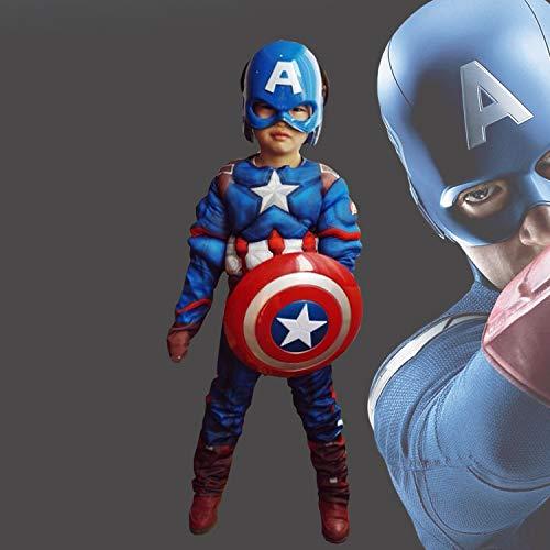 MEET Captain America Classic Muscle Costume (Medium) Blue