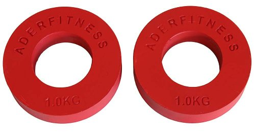 Ader Olympic Fractional Plates Pair- 1 Kg Red by Ader Sporting Goods
