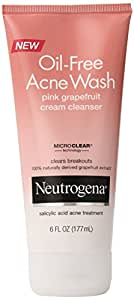 Neutrogena Oil-Free Acne Wash, Cream Cleanser, Pink Grapefruit, 6 Ounce