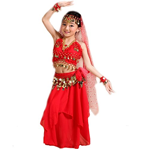 [Seawhisper Kid's Belly Dance Girl Halter Top, dress,veil,hip scarf,Bracelets Halloween Costume Set] (Red Belly Dancer Costume)