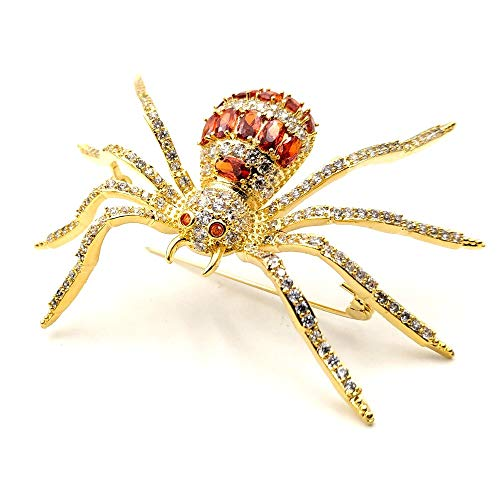 DREAMLANDSALES Vintage Designer Micro Pave Golden and Red Spider Brooch Pin