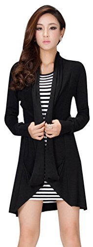 CgQgXn Women Comfy Drape Collar Long Sleeve Asym Hem Cardigan - Black#2 M