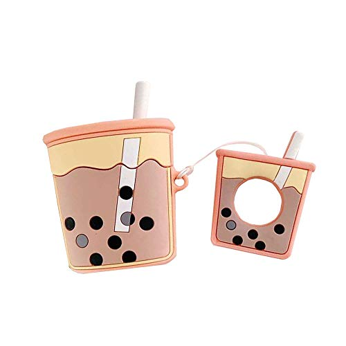 (BONTOUJOUR AirPods Case, Super Cute Creative Drink Milk-Tea Cup Shape TPU Silicone Cover Protective Skin for Apple AirPods+Finger Lanyard-Orange)