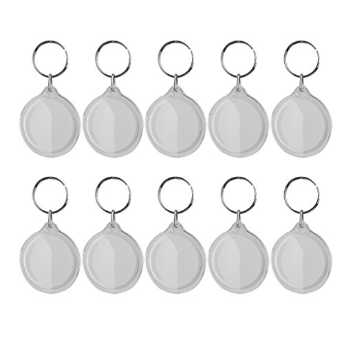 Round Shape Keychain (MagiDeal 10 pcs Round Blank Insert Photo Picture Frame Split Ring)