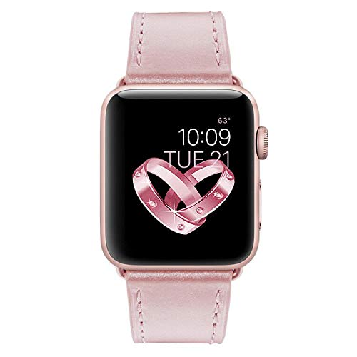 Compatible with Apple Watch Band, COVERY 42mm Soft Genuine Leather Strap Wristband Compatible Apple Watch Series 3, Series 2, Series 1, Sport & Edition - Rose Gold by COVERY (Image #1)