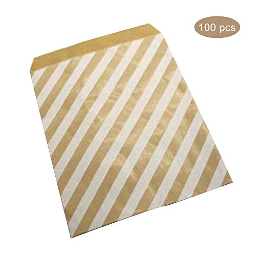 Esoes 100 PCS Wavy Cowhide Paper Bag Disposable Environmentally Friendly Food Confectionery Bag for Birthday, Gift, Tea Party, Wedding and Party Favor (D)
