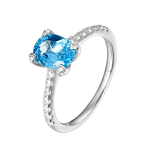 Carleen Sterling Silver 1.86 Carats Swiss Blue Topaz Ring Engagement Rings for Women Wedding Rings for Girls, Size 7.5