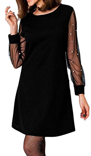 Tops Solid Womens Black Blouse Dress Hollow Cromoncent Swing Sleeve Long Mesh gq1nwFYBp