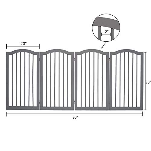 unipaws Freestanding Dog Gate w/2pcs Support Feet, Foldable Pet Gate for Stairs, Pet Gate Panels, Decorative Indoor Pet Barrier with Arched Top | Grey by unipaws (Image #3)