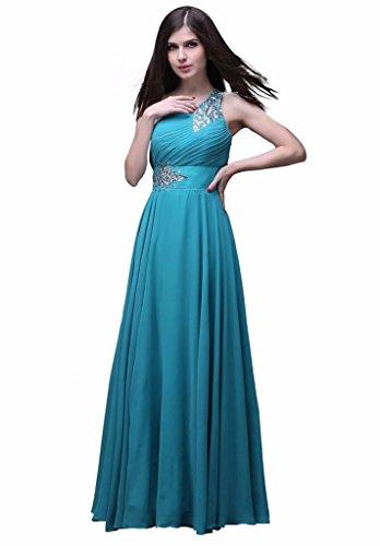 Kmformals Damen eine Schulter lange prom Kleider Teal Grün bGY1K ...
