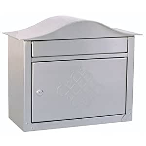 Architectural Mailboxes Peninsula Wall Mailbox, Satin Nickel Embossed