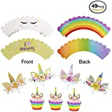 Unicorn Cupcake Toppers & Wrappers & Handmade Unicorn Cake Topper. Double Sided Kids Party Cake Decorations Set of 49 Pieces. Double Sided Eyelash/Rainbow & I Love Unicorns Wrappers w/Toppers.