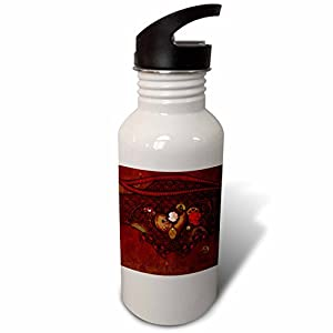 3dRose Heike Köhnen Design holidays – Wonderful valentines steampunk heart with clocks and gears – Flip Straw 21oz Water Bottle (wb_254571_2)