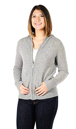 Gigi Reaume 100% Cashmere Zip Front Cardigan Hoodie Sweater (Large, Grey Heather)