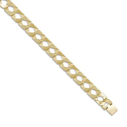 Or 9ct Lézard en fonte et poli chaîne gourmette Collier 55,9cm