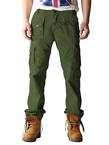- OCHENTA Men's Cotton Washed Multi Pockets Military Cargo Pant #3380 Army Green 44