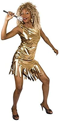 80s Rock Queen Tina Turner Wig Ladies Fancy Dress 1980s Celebrity Womens Costume