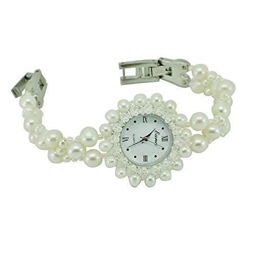 (HWCOO Jade Bracelet Watch DIY Beaded Quartz Watch White Pearl Bracelet Watch Ladies Watch (Color : 1))