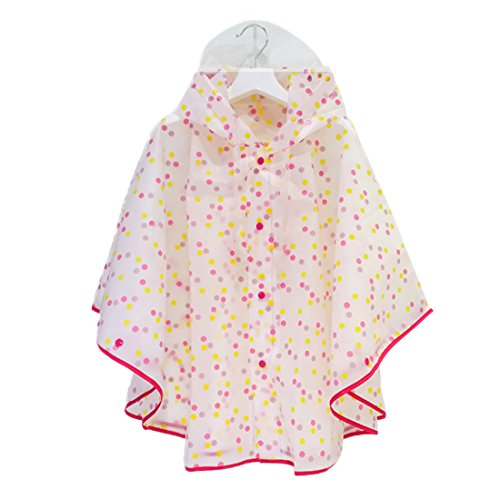 Kids Children Outdoors Hooded Waterproof Lightweight Dots Print Poncho Raincoat Absolutely Perfect Rose Pink L (Fit 51.2