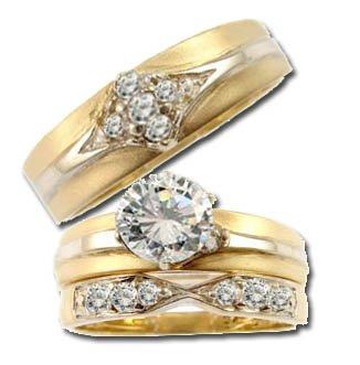 Yellow Gold Plated White Rhodium, Trio 3 Piece Set Engagement Anniversary Wedding Rings Round Center Created Gems