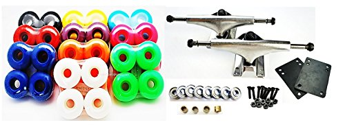 "VJ Skateboard Combo 5"" Trucks Silver, 52mm Skateboard Wheels, Abec7 Bearings, Screws, Riser Pads, Spacers – DiZiSports Store"