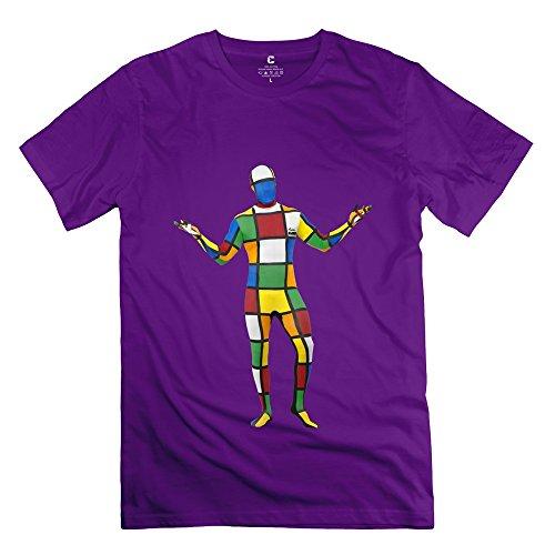 Fashion Melting 3-D Rubiks Cube Mirror Men's Tshirt Purple Size L