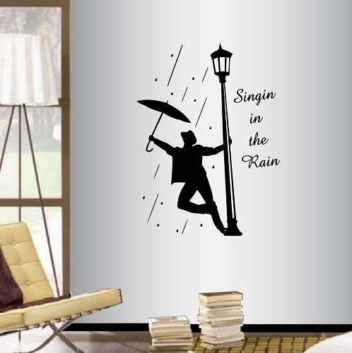 Wall Vinyl Decal Home Decor Art Sticker Singin in The Rain Quote Phrase Lettering Singer Man Boy With an Umbrella People Bedroom Living Room Removable Stylish Mural Unique Design