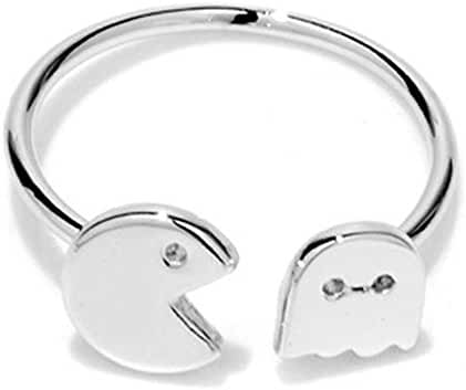 METTU Open Adjustable Pacman and Ghost Finger Ring for Women