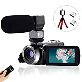 CofunKool Video Camera 1080P Camcorder 24MP FHD Vlogging Camera for YouTube, 270° Flipping 3.0' IPS Touch Screen with External Microphone Mini Tripod Remote Control