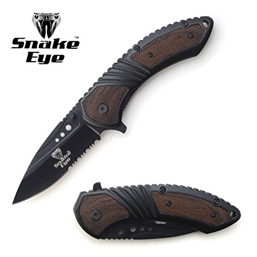 Snake-Eye-Tactical-Heavy-Duty-Black-Wood-Handle-Action-Assist-Folding-Pocket-Knife-Everyday-Carry-Self-Defense-Outdoors