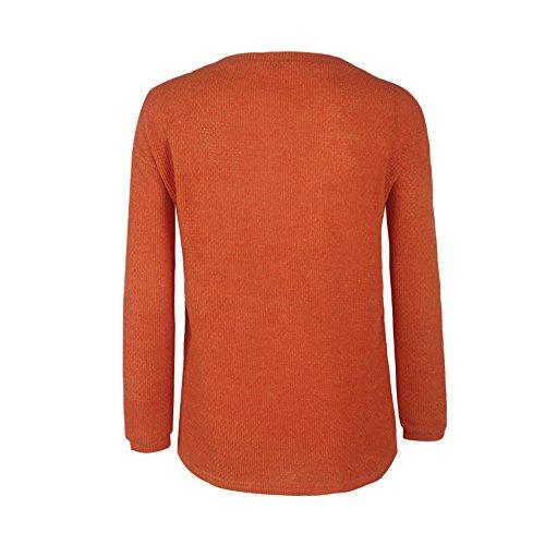 aschoen–Jersey punto cuello en V Otoño Suelto Sólido sudadera naranja