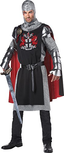 California Costumes Men's Renaissance Medieval Knight Ren Faire Costume, Black/Red, -