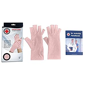 Doctor Developed Pink Ladies Arthritis Compression Gloves and Doctor Written Handbook - Soft with Mild Compression, for Arthritis, Raynauds Disease & Carpal Tunnel