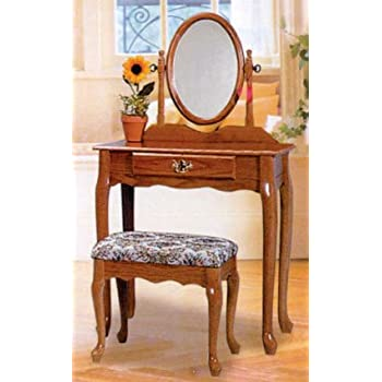 Amazing CHERRY FINISH WOOD VANITY SET   TABLE WITH MIRROR AND BENCH