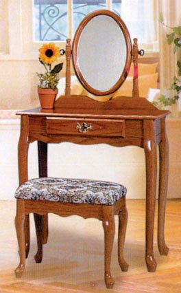 new style 7675a f0c77 CHERRY FINISH WOOD VANITY SET - TABLE WITH MIRROR AND BENCH