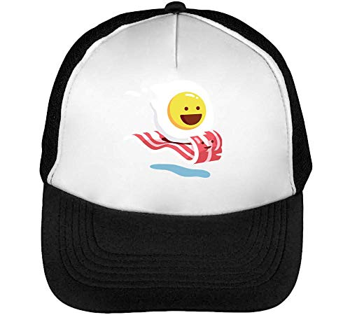 Fried Egg Riging A Bacon Strip Gorras Hombre Snapback Beisbol Negro Blanco