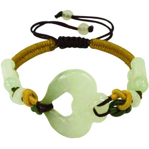 Dahlia Jadeite Jade Adorning Heart and Jade Beads Multi Colored Woven Cord Adjustable Bracelet