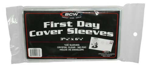 Pack of 100 BCW First Day Cover Sleeves - 3 15/16 X 6 7/8 - Issue Stamp Cover