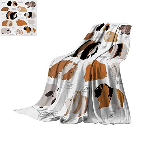 Guinea Pig Fleece Microfiber Blanket, Infographic Design Classification for Types of Rodent Breeds Super Soft Lightweight Blankets for Bed Couch, 70