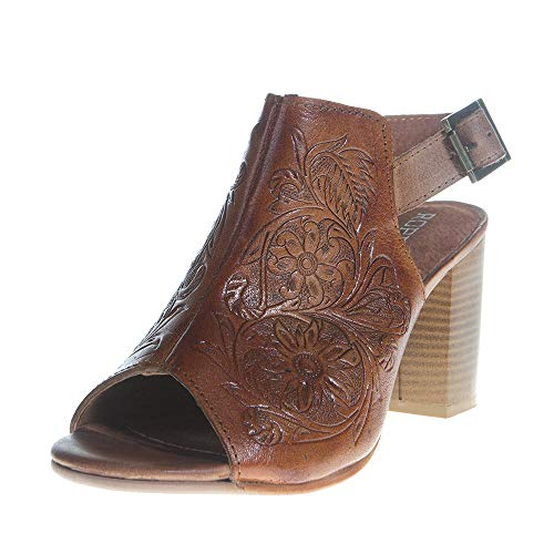 Roper Women's Floral Tooled Leather Mika Mule - Tan - TAN - 8 - M