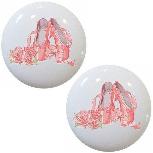 Hardware Set Slipper (Ballet Slippers and Roses Ceramic Cabinet Drawer Knobs SET OF 2)