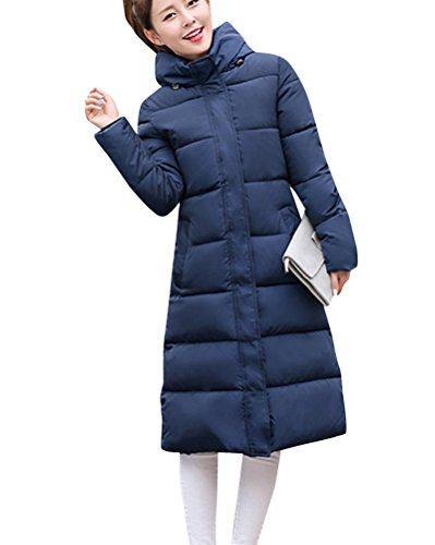 Stampa Womens Riempito Giacche Con Invernali Cappotti Dianshao Outwear Cappuccio Blu Calde Lungo wqrUqv5Z