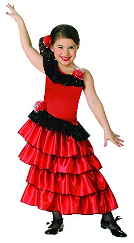Child's Red and Black Spanish Princess Costume, -