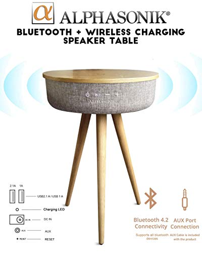 - Alphasonik Decor Modern Home Portable Bluetooth Speaker 360 Surround HD Sound with 10 Speakers Drivers Built-in Qi Wireless Charger Dual USB AUX Inputs End Table Coffee Table Night Stand Piano MAPLE