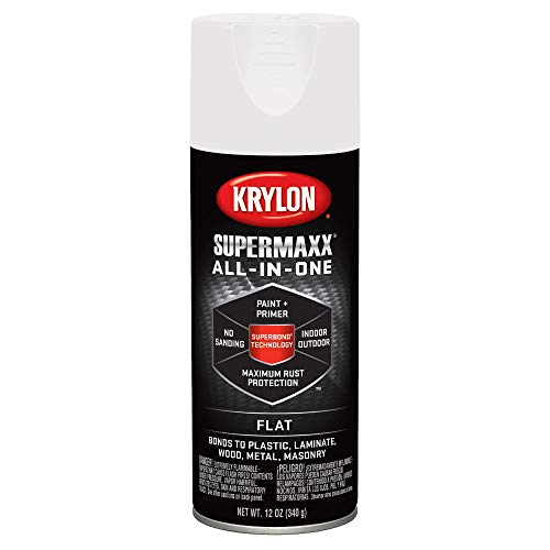 Krylon K08971007 SUPERMAXX All-In-One Spray Paint, Flat White, 12 Ounce