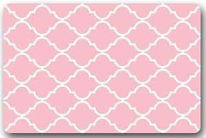 """Felpudo alfombra alfombra porche exterior/indoorr/alfombrillas de baño blanco y rosa Quatrefoil decorativa Felpudo de goma antideslizante resistente a las manchas de grosor estándar tamaño 23.6""""(L) X 15,7(W), 3/16"""""""